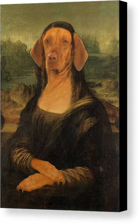 Mona Lisa Canvas Print featuring the digital art Mona Visla by Galen Hazelhofer