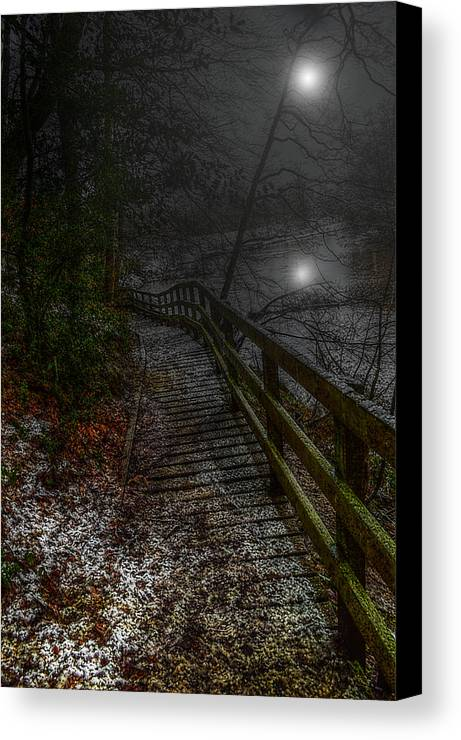 River Canvas Print featuring the mixed media Moonlight On The River Bank by Mark Hunter