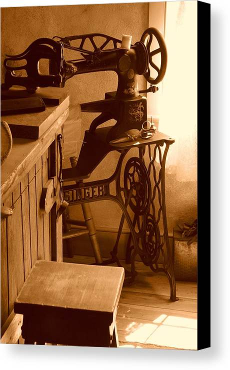 Sepia Canvas Print featuring the photograph Mormon Singer Sewing Machine by Dennis Hammer