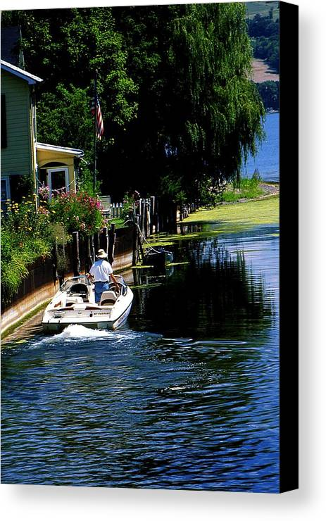 Seneca Lake Canvas Print featuring the photograph Motor Boat On Canal by Roger Soule