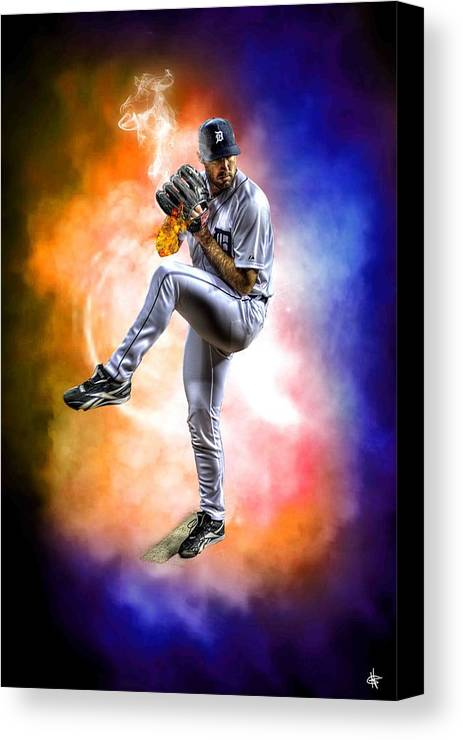 Cy Young Canvas Print featuring the photograph Mr. Justin Verlander by Nicholas Grunas