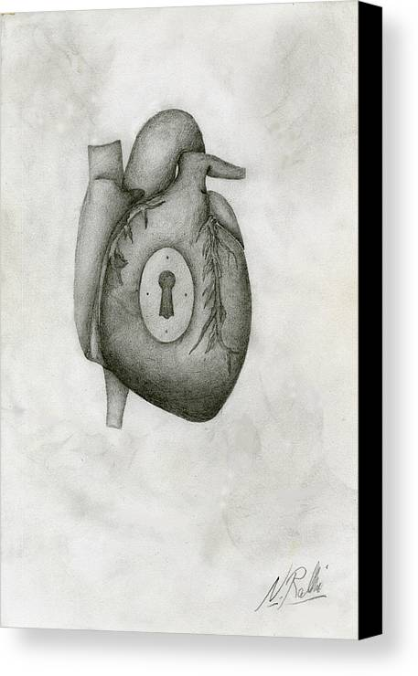 Heart Canvas Print featuring the drawing My Locked Heart by Nathan Ralevski