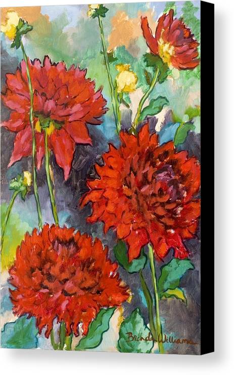 Dahlias Canvas Print featuring the painting Mystery Day Dahlias by Brenda Williams