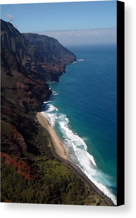 Hawaii Canvas Print featuring the photograph Napali Cliffs by Kathy Schumann