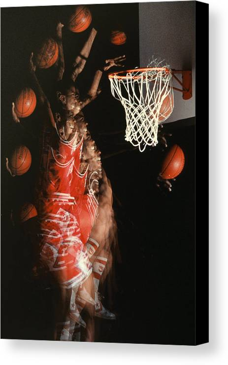 Sport; Sports; Basketball; Player; Effort; Ball; Basket; Dunk; Jump; Jumping; Skill; Game; Games; Basket Ball; Hoop; Round Ball; Net; Swish; Man; Boy; Black; African American; African-american Canvas Print featuring the photograph Net Fever by Gerard Fritz