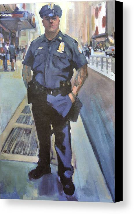 Cop On The Beat.new York Policeman Canvas Print featuring the painting New York by Merle Keller