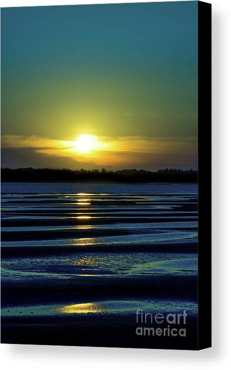 Sunset Canvas Print featuring the photograph Nightfall At The Shore by Judy Tomlinson