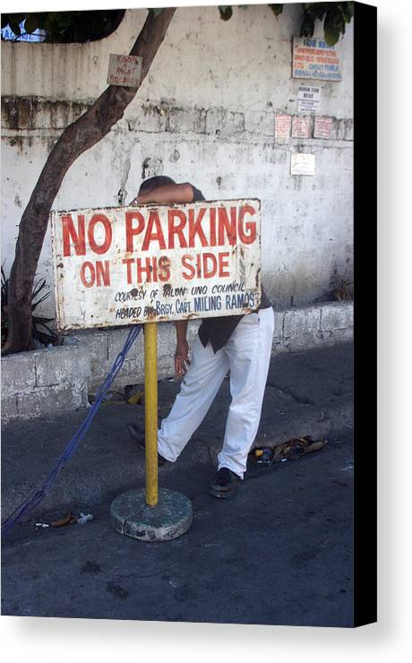 Photographer Canvas Print featuring the photograph No Parking This Side 2 by Jez C Self