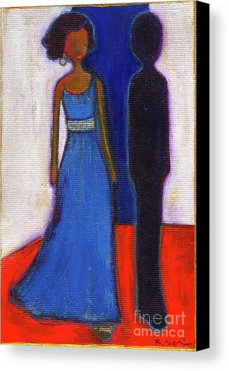 Girl Canvas Print featuring the painting Obama Black And Blue by Ricky Sencion