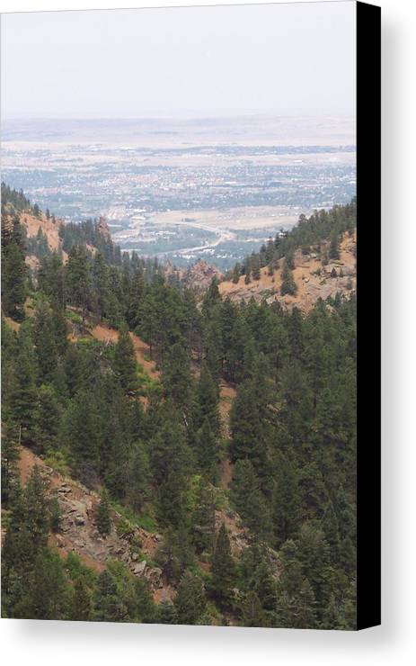 Landscape Canvas Print featuring the photograph Over The Mountain Side by Sarah Bauer
