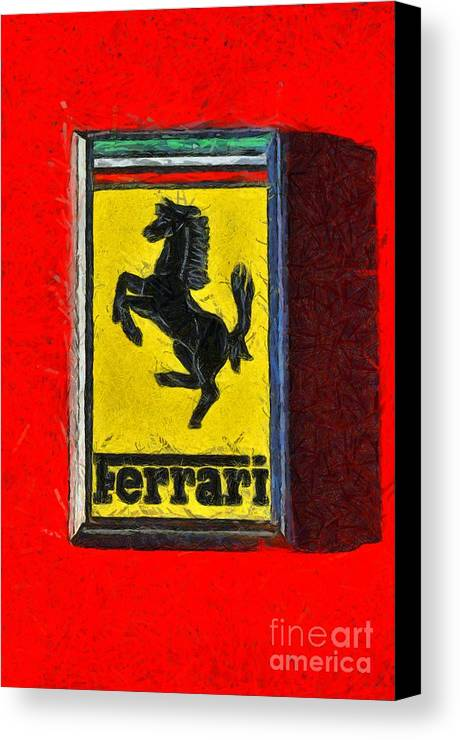 Painting Of Ferrari Badge Canvas Print / Canvas Art by George ...