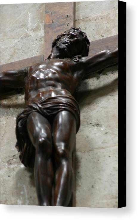 Canvas Print featuring the photograph Paris - Jesus On Cross by Jennifer McDuffie