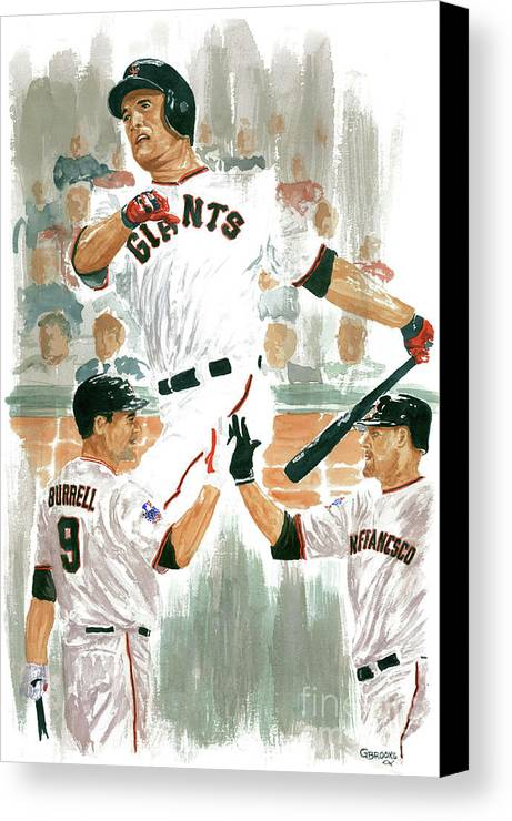 Pat Burrell Canvas Print featuring the painting Pat Burrell Study 2 by George Brooks