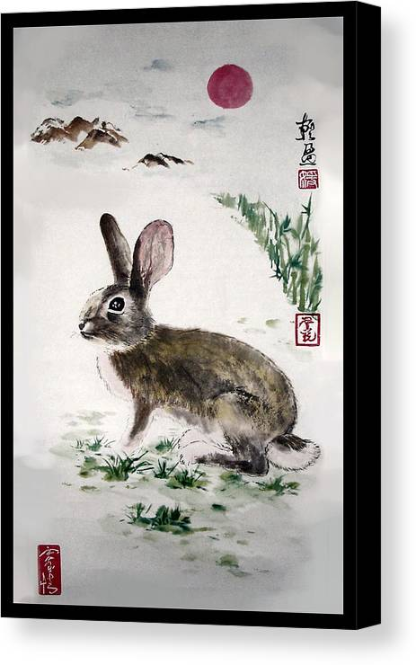 Rabbit Canvas Print featuring the painting Peaceful by Lilian Storino