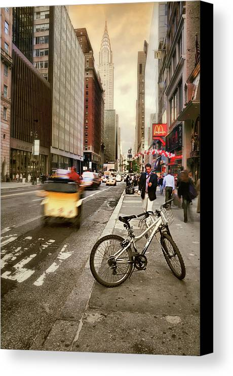 Nyc Canvas Print featuring the photograph Peddle It Manhattan by Diana Angstadt