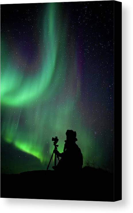 Vertical Canvas Print featuring the photograph Photographer Catching Beautiful Light by Lars Mathisen Photography
