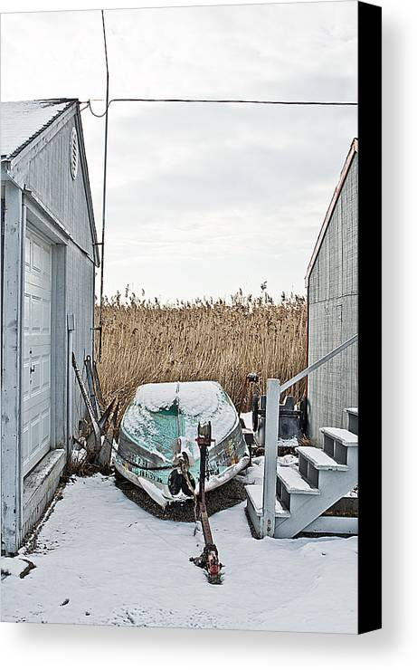 Boat Canvas Print featuring the digital art Photogrphic Illustration Of A Small Boat In New England by David Thompson