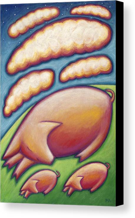 Whimsical Canvas Print featuring the painting Pigs Peace by Mary Anne Nagy