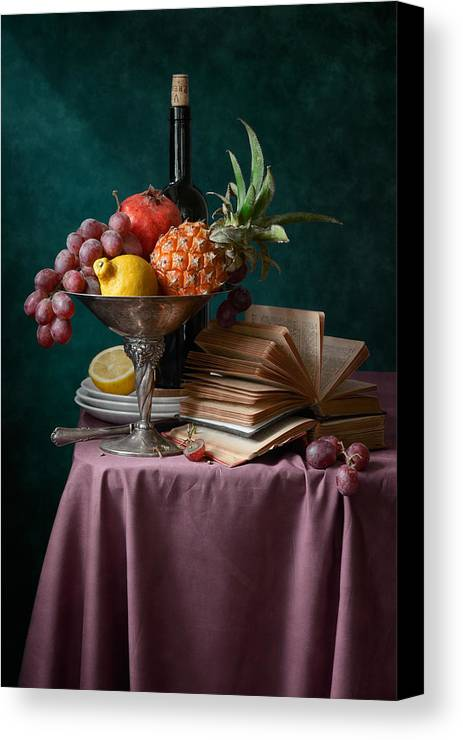 Fruit Canvas Print featuring the photograph Pineapple And Other Fruits by Nikolay Panov
