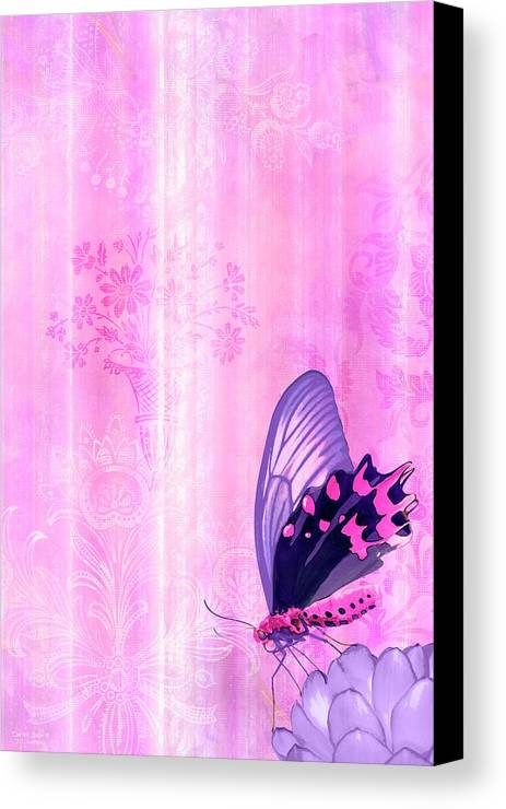Butterfly Canvas Print featuring the painting Pink And Purple Butterfly Companions 2 by JQ Licensing