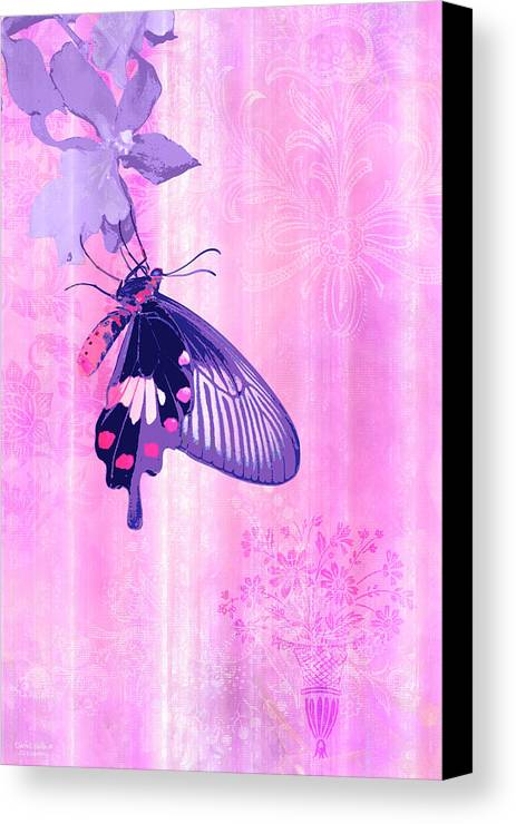 Butterfly Canvas Print featuring the painting Pink And Purple Companions 1 by JQ Licensing