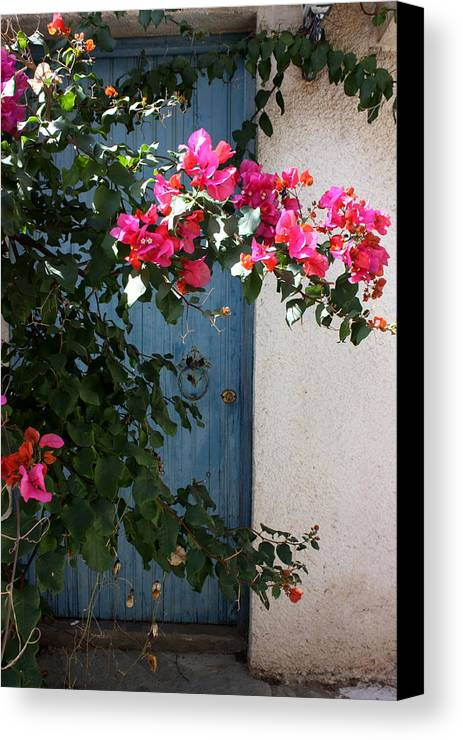 Greece Canvas Print featuring the photograph Pink And Teal by Yvonne Ayoub