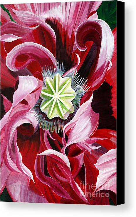 Macro Flower Canvas Print featuring the painting Pink Entanglement by Julie Pflanzer