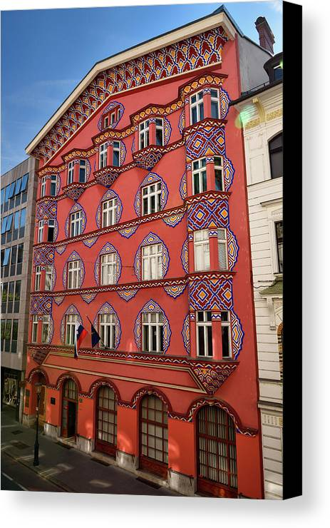 Cooperative Business Bank Canvas Print featuring the photograph Pink Facade Of The Cooperative Business Bank Building Called Vur by Reimar Gaertner