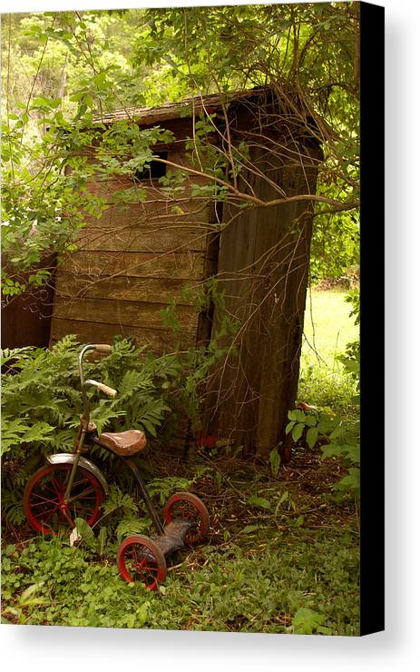Outhouses Canvas Print featuring the photograph Pit Stop by Linda McRae