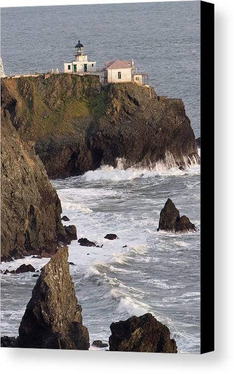 Architecture Canvas Print featuring the photograph Point Bonita Lighthouse by George Oze