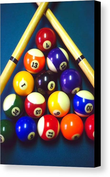 Pool Canvas Print featuring the photograph Pool Balls And Cue Sticks by Steve Ohlsen