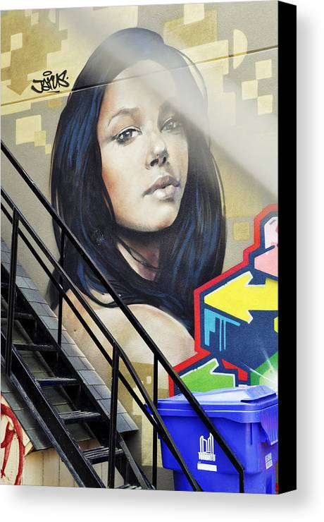 Canada Canvas Print featuring the photograph Portrait By The Back Stair by Leonid Rozenberg