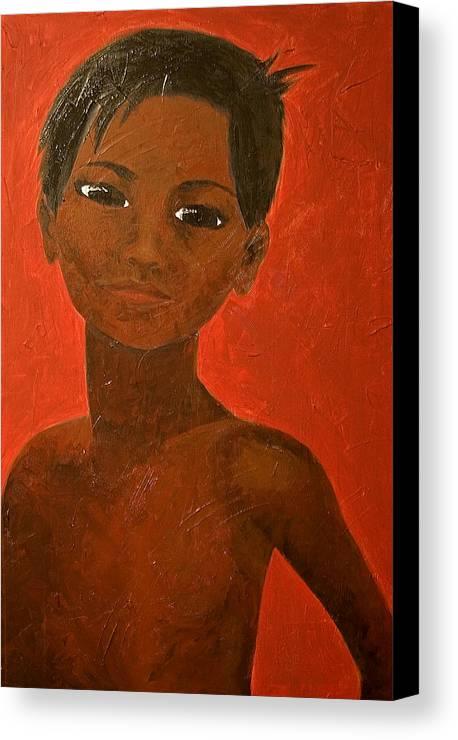 Portrait Canvas Print featuring the painting Portrait Of A Boy by Michelle Key