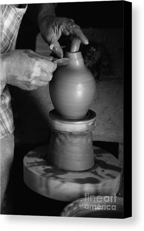 Azores Canvas Print featuring the photograph Potter At Work by Gaspar Avila