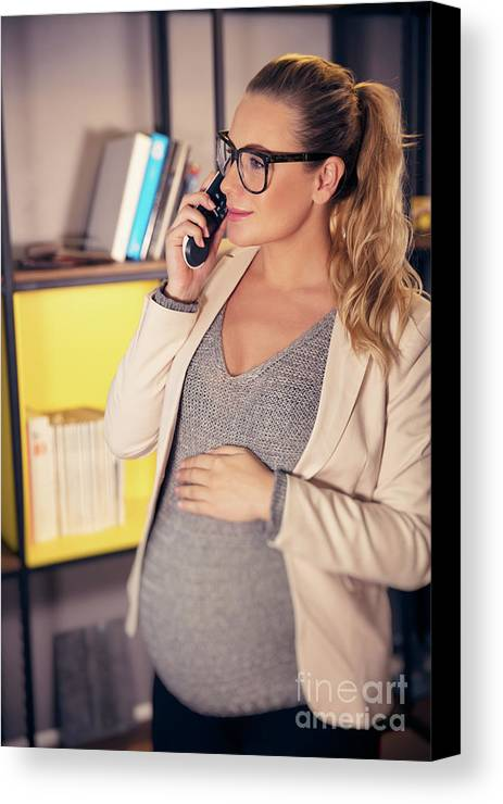 Active Canvas Print featuring the photograph Pregnant Woman At Work by Anna Om
