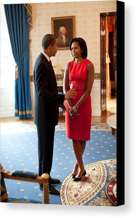 History Canvas Print featuring the photograph President And Michelle Obama Talk by Everett