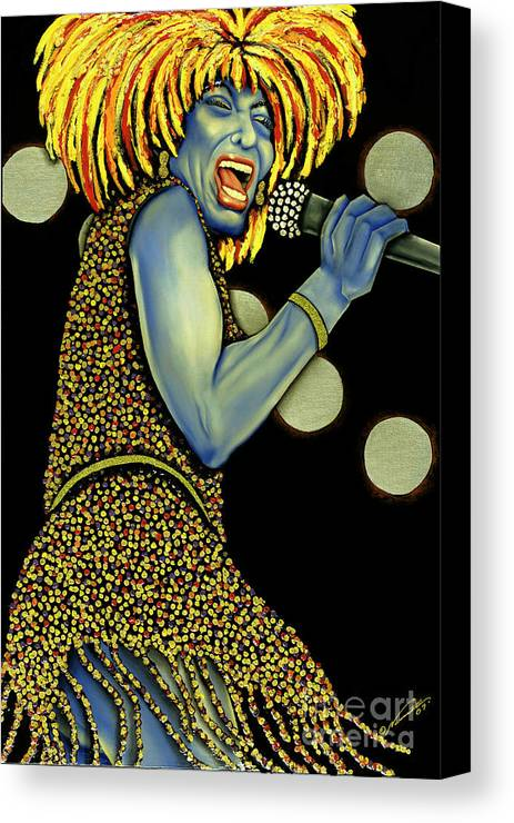 Portrait Canvas Print featuring the painting private Dancer by Nannette Harris