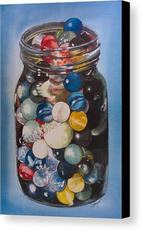 Marbles Canvas Print featuring the painting Prized Collection by Victoria Heryet