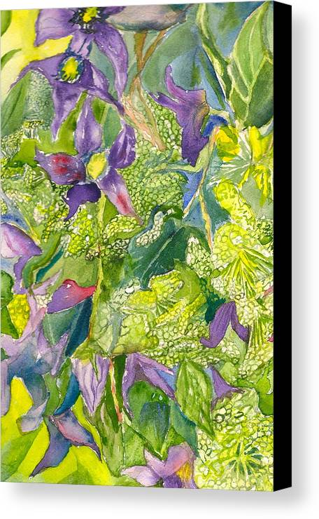 Watercolor Floral Canvas Print featuring the painting Purple Lillies And Baby's Breath by Judith Maculan