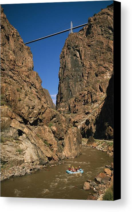 North America Canvas Print featuring the photograph Rafting On The Arkansas River by Richard Nowitz