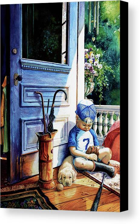 Child Baseball Canvas Print featuring the painting Rain Rain Go Away by Hanne Lore Koehler
