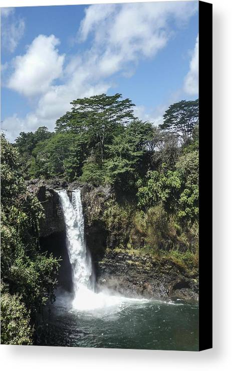 Rainbow Canvas Print featuring the photograph Rainbow Falls Hawaii by NaturesPix