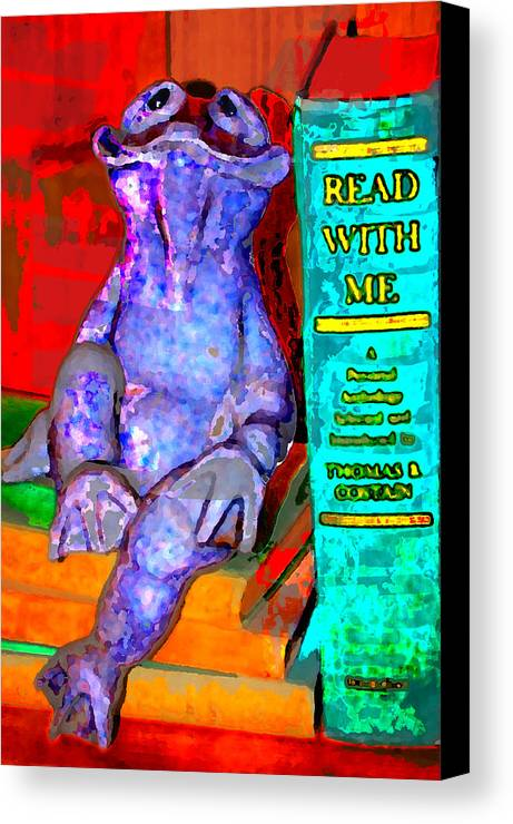 Canvas Print featuring the digital art Read With Me Frog by Danielle Stephenson