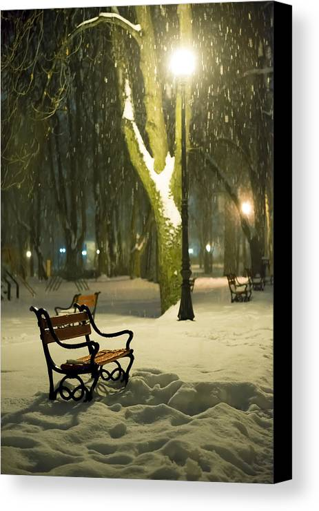 Background Canvas Print featuring the photograph Red Bench In The Park by Jaroslaw Grudzinski