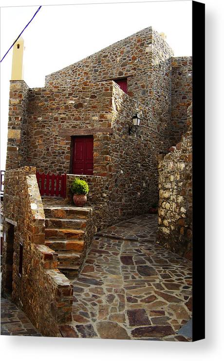 Canvas Print featuring the photograph Red Door by Jacqueline Doulis