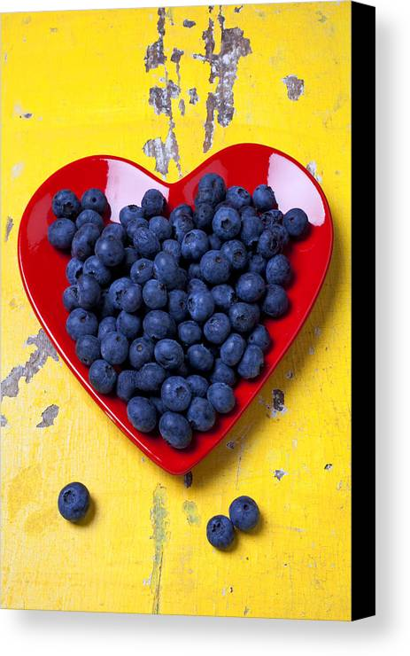 Red Heart Shaped Plate Canvas Print featuring the photograph Red Heart Plate With Blueberries by Garry Gay