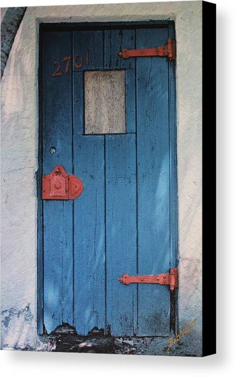 Door Canvas Print featuring the photograph Red Hinges by Bob Whitt