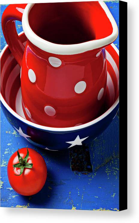 Pitcher Bowl Canvas Print featuring the photograph Red Pitcher And Tomato by Garry Gay