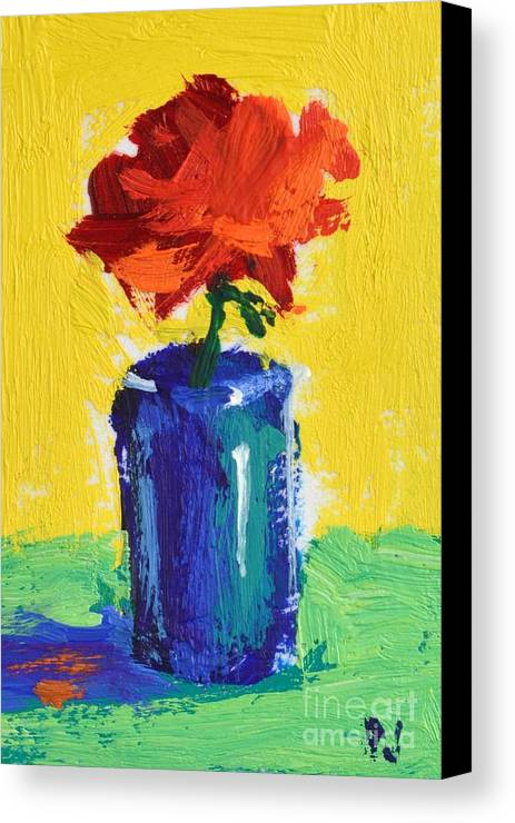 Red Rose With Yellow And Green Canvas Print featuring the painting Red Rose With Yellow And Green by Philip Jones