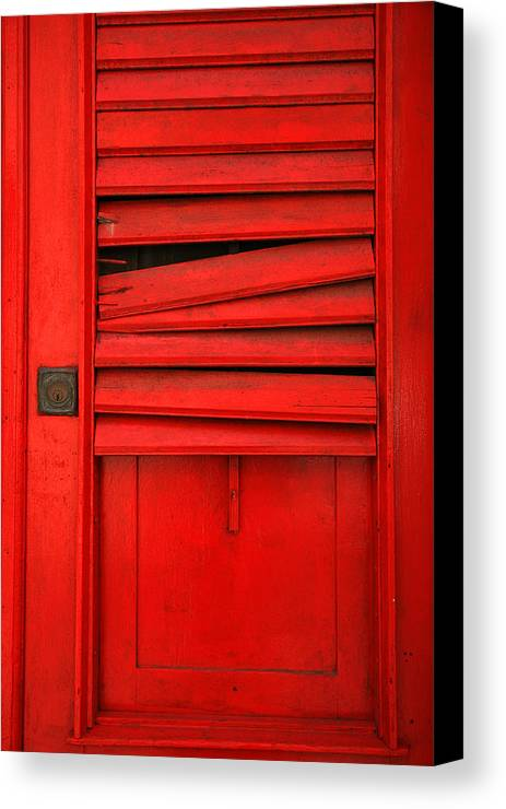 Red Canvas Print featuring the photograph Red Shutter by Timothy Johnson